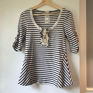 Striped Anthropology Button and Lace Top Small
